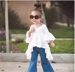 Wholesale Kids Girl Plaid Bottoms - 80-110 Girls Outfits 2016 Kids Clothing Flouncing Shirt + Denim Bell-Bottoms 2pcs Causa Suits Girls Clothes Kid Clothes Sets KB504