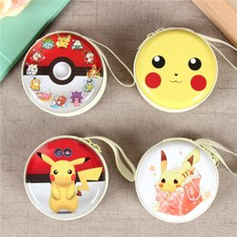 Wholesale Pokemon Coins - 4 Style Poke Earphone Bag Original Pikachu Mini Zipper Coin Purse Headphone Box SD Hold Case Charger Line Bag F700