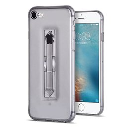 Wholesale Dust Plug Stand - High Transparent Case With Holder For iPhone 6 6s 6 plus 7 7 plus Soft Clear TPU Stand Back Cover Dust Plug Air bag Anti Dirt Shockproof