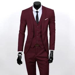 Wholesale Tuxedo Vest Set Piece - Wholesale-Men 3 Piece Suits Set Jacket+Pants+Vest Brand Costume Clothing Formal Dress Wedding Suit For Homme Groom Business Tuxedos 22