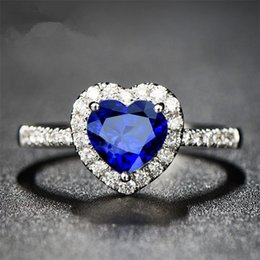 Wholesale Unique Heart Rings - Hot Sale Luxury Unique Fashion Blue Heart Ring Gold Plated AAA Zircon Engagement Weddding Rings Fine Jewelry