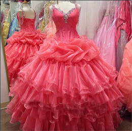 Wholesale Dresses Coral Watermelon - Vintage Plus Size Watermelon Organza Quinceanera Dresses Tiers Beaded Corset Sweet 16 Party Gowns Vestidos de 15 2016 Pageant Ball Gowns