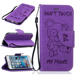 Wholesale Cute Iphone 5s Flip Case - Cartoon Teddy Bear Wallet Leather Case For Iphone 8 7 Plus I7 6 6S SE 5 5S Cute Don't Touch My Phone Pouch Stand Cards Cover Flip Bag 150pcs