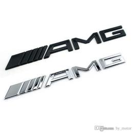 tapas del centro de la rueda bmw 68mm Rebajas AM-G Rear Auto negro / plateado Emblema Badge Sticker Fit SL SLK C S GLK PARA