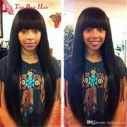 Wholesale Black Bangs Real Hair - Best Long Straight Bang Wig Black Women Real Straight Full Lace Wig Virgin Unprocessed Hair Brazilian Hair Glueless Lace Wigs Full Bangs