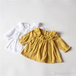 Wholesale Striped Pans - Ins New Arrival Girl elegant princess dress 100% cotton long sleeve lace pet pan collar solid color dress fall kids girl elegant dress