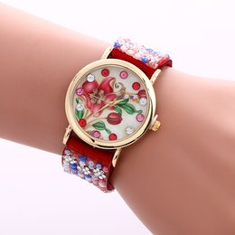 Wholesale Knitted Watch Band - Creative Watches Women Christmas Gift Bracelet Watch Weaved Rope Band Knitted Flowers Pattern Quartz Watch 9 Colors