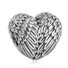Wholesale Jewelry Made Feathers - Vintage Angelic Feathers Charms Bead Original 925 Sterling Silver Angel Wing Heart Beads For Jewelry Making DIY Bracelet Accessories HB371