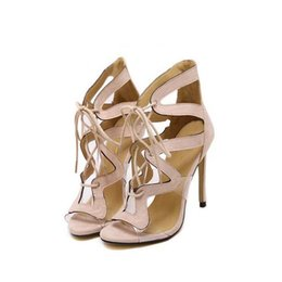 Wholesale Hot Club Heels - Hot Sale Women Gladiator Sandals Fashion Hollow Peep Toe Sexy Club Pumps Ladies Party Weedding Thin High Heels Shoes