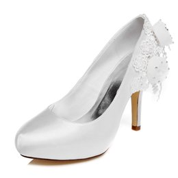 Wholesale Chunky Heel Ivory Wedding Shoes - 10cm high Ivory Color Platform Pump Style Bridal Shoes Wedding Dress Shoes Handmade Shoes for Wedding Prom Party Shoes with Flowers Size 42