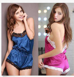 Wholesale Teddies Lingerie Free Shipping - Free shipping in Europe and America sexy piece pajamas racy lingerie sexy lace halter strap silk nightgown the temptation leotard