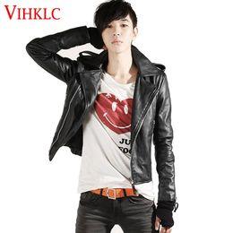 Motocicleta coreana on-line-Atacado- coreano moda jaqueta de couro homens jaquetas casaco fino motociclista motociclista macio Zipper Boyer couro Jaquetas Plus Size 2XL L932