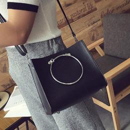 Wholesale Tote Bags Metal Handles - 2017 Fashion Women Metal Ring Handle PU Leather Shoulder Bag Messenger Purse Satchel Tote Handbag with Removable Shoulder Belt