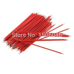 Wholesale Wholesale Breadboard - 100pcs Breadboard Jumper Cable Wires For Experiment Test Tinned 1.0mm 6cm Red Shipping