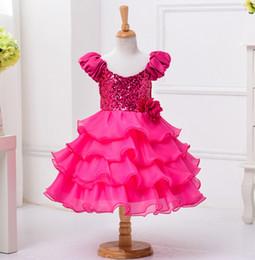 Wholesale Wedding Dress Wholesale Trade - New Foreign Trade Original Single Girls Sequined Dress Bow Princess Wedding Dress Rose Color Dress 100-160cm XREY209