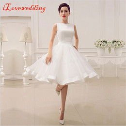 Wholesale Cheap Knee Length Prom - Cheap White Short Graduation Dresses 2017 Sleeveless A-Line Knee-Length Satin Homecoming Dresses with Bow Under 100 Prom Party Dress