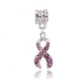 ruban rose Promotion Fits Pandora Bracelets Cristal Rose Ribbon Breast Cancer Awearness 925 Argent Charms Beads Pour gros Diy Collier Européen Bijoux Xmas