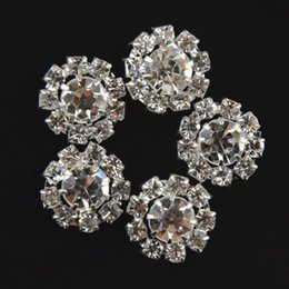 Wholesale Wholesale Artificial Flower Sticks - 15mm Shiny crystal rhinestone alloy button girls Children hair accessories Flowers clear rhinestone bling round rhinestone B281
