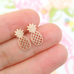 Wholesale Pineapple Love - Wholesale Pineapple Stud Earrings Silver Gold Rose Gold Plated Earring Jewelry Women Kids Love Fruit Earings Party Jewelry