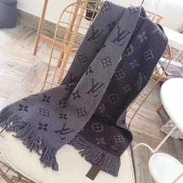 Wholesale Flower Silk Scarf - 2018 Winter LOGOMANIA SHINE Brand Luxury Scarf Women and Men Two Side Black Red Silk Wool Blanket Scarfs Fashion Designer Flower Scarves