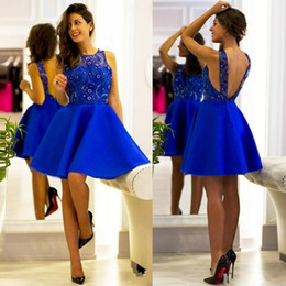 Wholesale Cheap Black Satin Robes - Stunning Royal Blue Sheer Short Prom Dresses Lace Beads Sleeveless Ball 2018 A-Line Cheap Short Party Evening Dresses Gowns Robe De Soiree