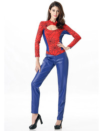 Wholesale Adult Female Spider Costume - 2016 Sexy Halloween Costumes For Women Adult one-piece Spider Superhero Costume Pvc leather long sleeves catsuit H39323