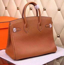 Wholesale Large Orange Leather Handbag - Women Classic Gold Lock BK Designer Handbag Ladies Famous Brand Large Tote Shoulder Bag 25cm 30cm H201