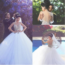 Wholesale Lace Tulles Wedding - Gorgeous African Major Beading Crystals Ball Gown Sheer Wedding Dresses 2016 Plus Size Crew Sexy Back Puff Tulles Bridal Gowns Arabic BA1006