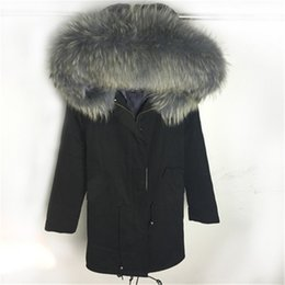 Wholesale winter fur coats for women - top quality brand 2017 large raccoon fur hooded long winter jacket women parka natural real fur coat for women thick warm liner