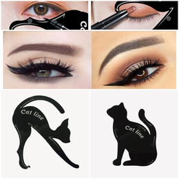 Wholesale liner stencil - 2 in 1 Cat Eyeliner Stencil Multifunction Eye Stencil Cat Eyeliner Stencil For Eye Liner Template Card Fish Tail Double Wing Eyeliner Stenci