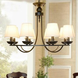 Wholesale Round Chandelier Shades - For Foyer living room bedroom dinning room restaurant black modern with fabric shade big round ring vintage chandelier classcic