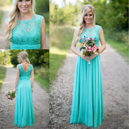 Wholesale Turquoise Drape Chiffon Dress - New Arrival 2017 Turquoise Bridesmaid Dresses Cheap Scoop Neckline Chiffon Floor Length Lace V Backless Long Bridesmaid Dresses for Weddings