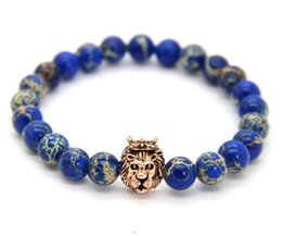 Wholesale Sea Bracelets - New Wholesale 8mm Blue Sea Sediment Stone Beads Mix Color Lion Head Hero Bracelet, Mens Jewelry
