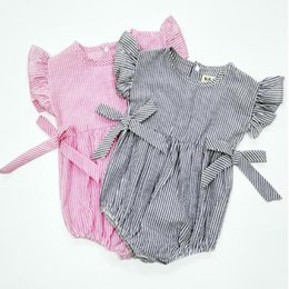 Wholesale Brand Inspired - Inspired Striped Baby Bubble Romper ,Princess Pink Girls Sunsuit ,Summer Girls Outfit with Bow ,Newborn baby clothes