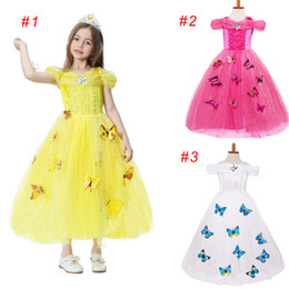 Wholesale Costume Children Cinderella - Children Girls Cinderella Dress Holloween Cosplay Princess Party Costume Dresses Blue Butterfly 5 Layers Tulle 3 Colors