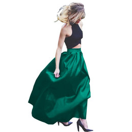 Wholesale High Women S Party - Women Summer Skirts Maxi Long Faldas High Waist Pleated A Line Skirt Ladies Clothes Floor Length Skirt Solid Blue Color Party Wear