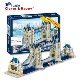 Wholesale Tower Bridge Model - Top Quality World famous buildings Jigsaw Model 3D Puzzle Tower Bridge DIY Xmas Gift Toys for childrens day Learning Education