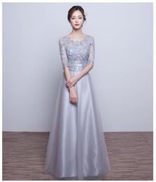 b84ac7aeda118 vestido para madrinha 2016 nueva sexy see 3 4 mangas una línea de encaje  con cuentas gris dama de honor vestidos largo vestido de fiesta de bodas al  por ...