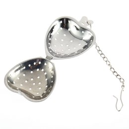 Wholesale Heart Herbs - Stainless Steel Silver Heart Tea Spice Strainer Ball Infuser Filter Herb Steeper High Quality Tea Infuser