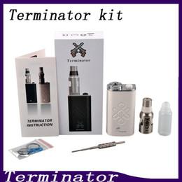 Wholesale Feeder Kits - Terminator Box Mod Starter Kit Terminator Mods Bottom Feeder 18650 Battery 510 Thread Firing Button Vs Lucifer Box Mod Kbox 120W 0211199-1