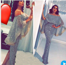 Wholesale Winter Wrap Dresses - 2017 Blingbling Split Evening Dresses With Cape Sheath Sexy Off the Shoulder Floor Length Prom Dresses