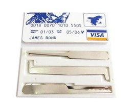 Wholesale James Bond Tool Pick Set - DHL Free 100Pcs Lot james bond pocket lock pick credit card locksmith tools lock pick easy take everywhere