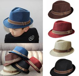 Wholesale Cotton Boys Caps - 2016 New Fashion Kids Boys Girls Unisex Fedora Hats Cap for Children Contrast Trim Cool Jazz Chapeu Feminino Trilby Sombreros 5colors