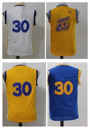 Wholesale Children Size Jerseys - 2017 Cheap Youth 30 Basketball Jerseys Top quality Size S-XL kids boys Children Yellow White Blue Sport Basketball Jerseys mixed orders