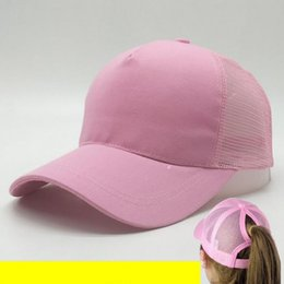 Wholesale Pink Pony Tail - outdoor Sun hat has an extra hole for the pony tail Woman Baseball Caps Women ponytail Hip Hop hat Breathable Summer Mesh Cap Ball Caps