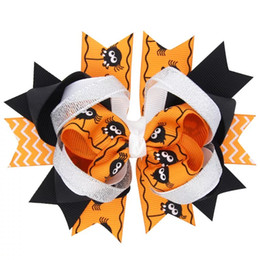 Wholesale Handmade Boutique Hairbows - Boutique Halloween Hair Accessories for Party 2017 Cute Pumpkin Hairbows for Girls Unique Handmade Ribbon Headwraps Giveaway Ghost Bows
