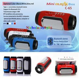 Wholesale Pill Stereo - C-65 Wireless Bluetooth Speaker Portable Stereo Pill Pulse Speaker Build in Handsfree Mic FM TF Card Dual Loudspeaker Phone VS C-89C-85 C85