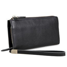 Wholesale Genuine Leather Handbags Organizer - Genuine Lichee Pattern Leather Mens Long Wallet Large Size Wallet Handbag Card Holder Black Color 8048