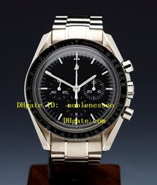 Wholesale professional chronograph - Top Quality Wristwatch Mens Black Dial Professional Stainless Steel Bracelet Quartz Chronograph Sport Men's Watches Luxury Mens Watch