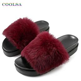 Wholesale women long sandals shoes - Coolsa New Women Long Plush Slippers Fluffy Rabbit Hair Fur Slides Thick Bottom Sandals Home Flip Flop Female Casual Party Shoes